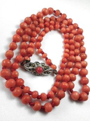 Antik Jugendstil Lachskoralle Korallenkette 800er Silber Markasit Edelsteine Koralle collier Kette Halskette Perlenkette Rarität