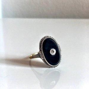 Antik Jugendstil Onyx Ring oval mit Diamant Echtgold 333 und Echtsilber 925 Sterling Art Deco gold silber bicolor