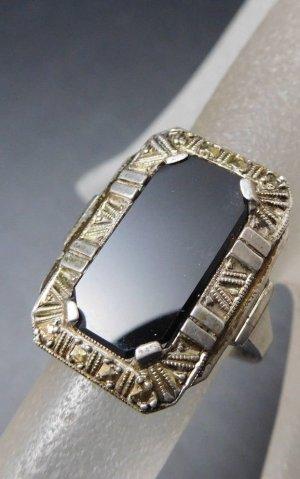 Antik Jugendstil Onyxring 835 Silber Art deco