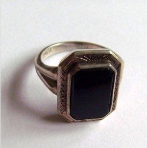 Antik Jugendstil Ring echt Silber 800 mit Stein achteckig, Onyx schwarz Vintage