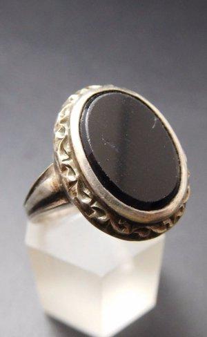 Vintage Anillo de plata negro-color plata