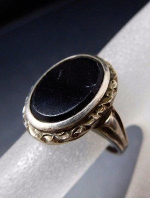 Antik Jugendstil Ring echt Silber 835 mit schwarzem Stein, Onyx schwarz Vintage