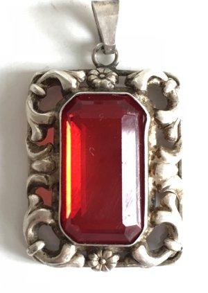 Antik Jugendstil Silber Anhänger 835er Silber roter Stein geschliffen facettiert
