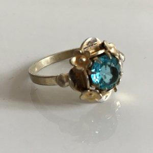 Antik Jugendstil Silber Ring 900 silber vg gold facettierter Stein hellblau türkis