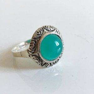 Antik Jugendstil Silber Ring chrysopras cabochon Edelstein Rundschliff hell grün Solitär