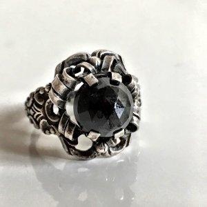 Antik Jugendstil Silber Ring Granat Trachten Silberring
