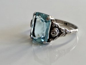Antik Jugendstil Silber Ring Silberring aqua Edelstein