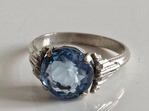 Antik Jugendstil silberner Ring Silbering aqua Stein blau facettiert