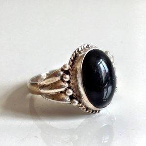 Antik Jugendstil Sterling 925er Silber Ring onyx schwarz Damen Herren Unisex