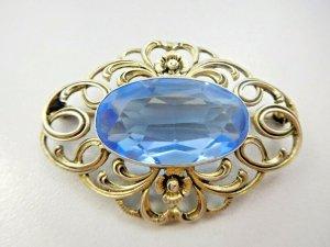 Antik Jugendstil XL Barock gold Brosche 835 Silber aqua blau Steinbesatz