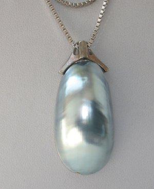 Antik Jugendstil XXL Perle blau Mabé Perlenanhänger Silber 835 Echtperle