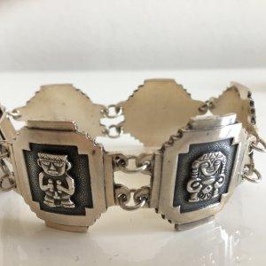 Antik Mexico Azteken Maya Götter Mexico 3D Armband Armreif 800er Silber Etno Vintage massiv Taxco