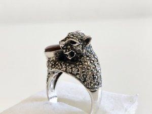 Antik Silber 925 Ring Panther Leopard Leo Silberring Karneol Cabochon Edelstein
