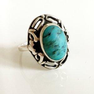 Antik Silberring mit Türkis 800er Silber Ring