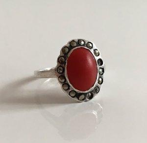 Antik um 1920/30 Antik 835er silber Silberring Koralle oval cabochon Edelstein markasiten Ring