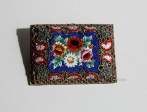 antike Millefiori Brosche Glas Mosaik