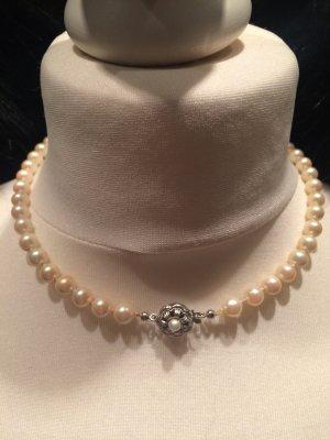 antike Perlenkette mit Silber Verschluss  925