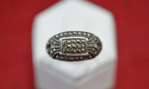 Antiker Art Deco 925 Sterling Silber Markasiten Ring Jugendstil