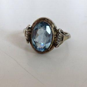 Antiker Jugendstil Blautopas Silber ring vergoldet Silberring echtsilber Gold