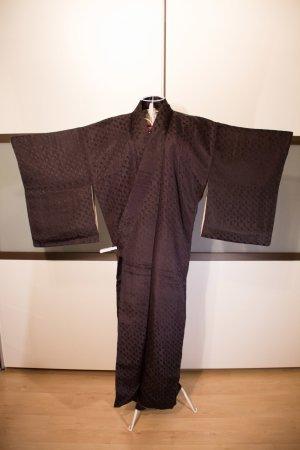 Antiker Kimono Japan, Tsukesage, 100% Seide, schwarz