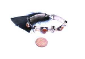 Vintage Silver Bracelet light grey-light orange real silver