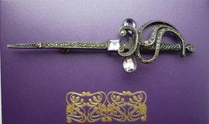 Brooch silver-colored-purple