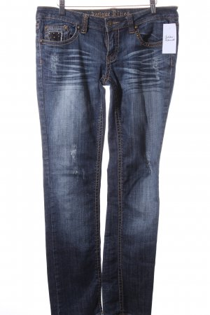 Antique rivet Straight Leg Jeans dark blue casual look