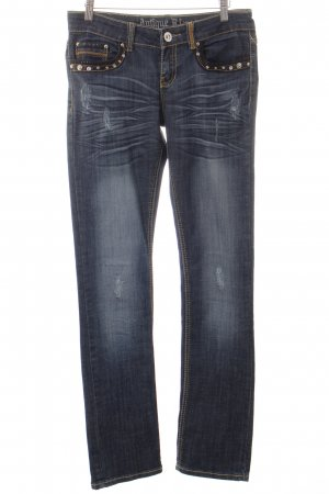 Antiquet Rivet Straight Leg Jeans dark blue-gold-colored extravagant style