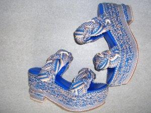 Platform Sandals blue-beige