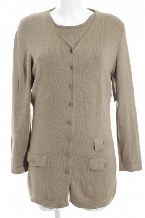 Antonia Zander Knitted Twin Set camel flecked elegant