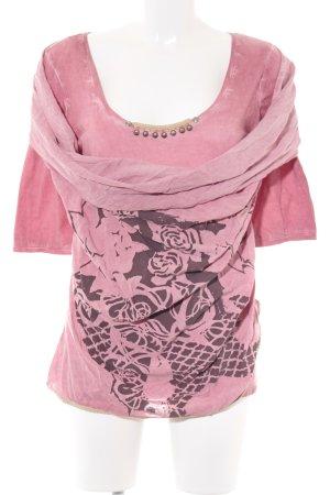 Anvrdie Longshirt rosa-dunkelbraun abstraktes Muster Casual-Look