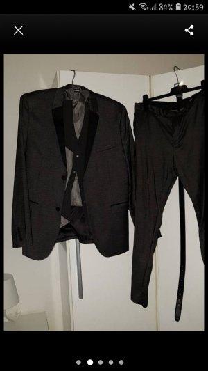 H&M Pantalon de costume noir-gris foncé