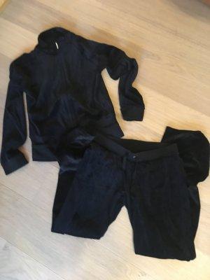 Anzug Hausanzug Pyjama weich Nici schwarz Zipper + Hose Gr. S