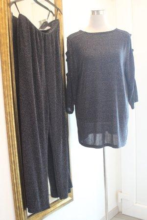 Anzug  Hose & Longshirt mit Cut Outs schwarz silber Gr 42 Festlich