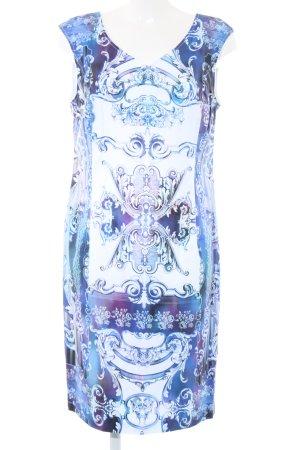 Apanage Robe de cocktail bleu-blanc motif abstrait élégant