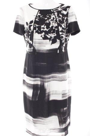 Apanage Abito aderente nero-bianco motivo floreale elegante