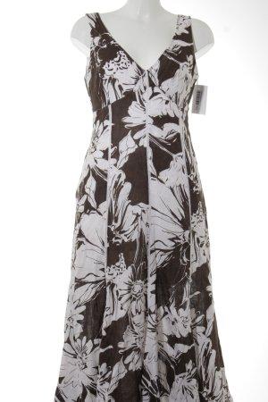 Apanage Robe en jersey blanc-brun motif floral style classique
