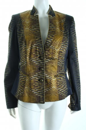 Apanage Kurz-Blazer dunkelblau-goldfarben Allover-Druck Street-Fashion-Look