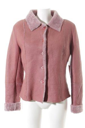 Apanage Veste en cuir rose-mauve style décontracté