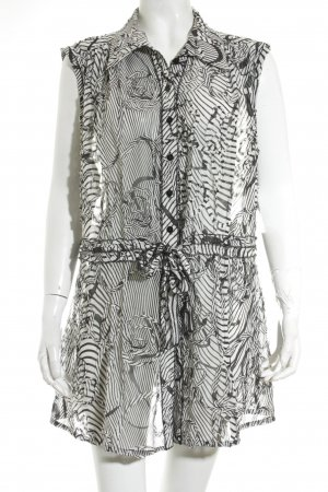 Apanage Ruffled Blouse white-black abstract print extravagant style