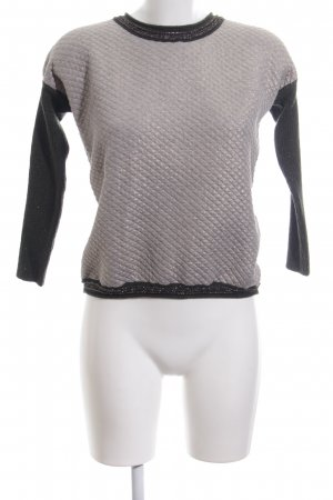 Apanage Crewneck Sweater light grey-black quilting pattern casual look