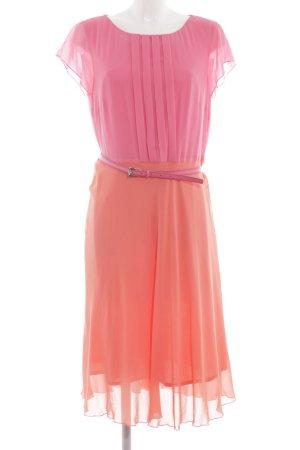 Apanage Volante jurk roze-licht Oranje kleurverloop feest stijl