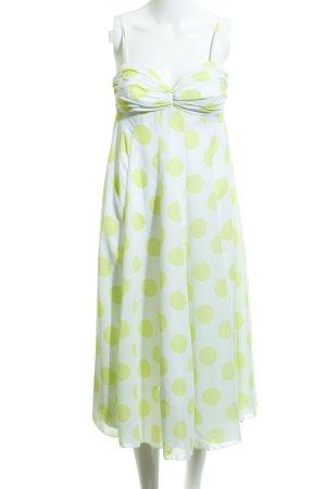 Apart A-lijn jurk wit-weidegroen gestippeld patroon extravagante stijl