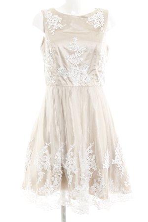 Apart Abendkleid beige-weiß florales Muster Elegant