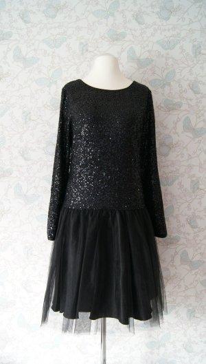 Apart Abendkleid Tüllkleid mit Pailletten, schwarz, Gr. 46 (44) NEU