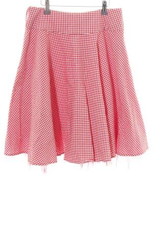 Apart Jupe évasée blanc-rouge motif à carreaux style décontracté