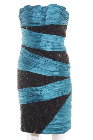 Apart Bandeaukleid kornblumenblau-schwarz extravaganter Stil