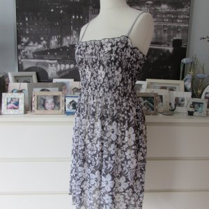 APART Beachwear * %Summer Sale% Edles Chiffon 2in1 Strandkleid+Rock * grau-weiß Blumen * 42 wNEU