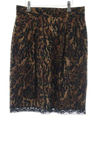 Apart Jupe crayon brun-noir motif léopard style festif
