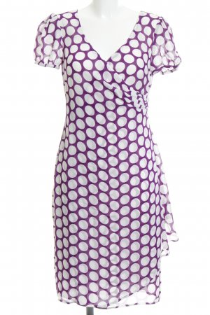 Apart Chiffon Dress white-dark violet spot pattern wrap look